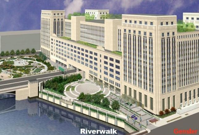 A rendering of The 601W Cos' plans for the Old Main Post Office, Chicago