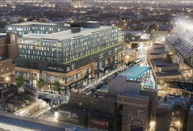 A rendering of Addison and Clark, a $140M mixed-use development from M&R Development and Bucksbaum Retail Properties