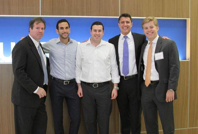 In the group photo from left to right is Mike Mankowich (DRA Advisors), Dan Goldman (DRA Advisors), Scott Lebenhart (DRA Advisors), Ryan Evanich (Stream Realty Partners), Jordan McFarland (Stream Realty Partners)