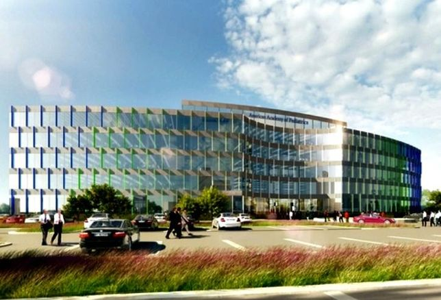 A rendering of the American Academy of Pediatrics' new planned HQ in Itasca. The academy is moving from Elk Grove Village.