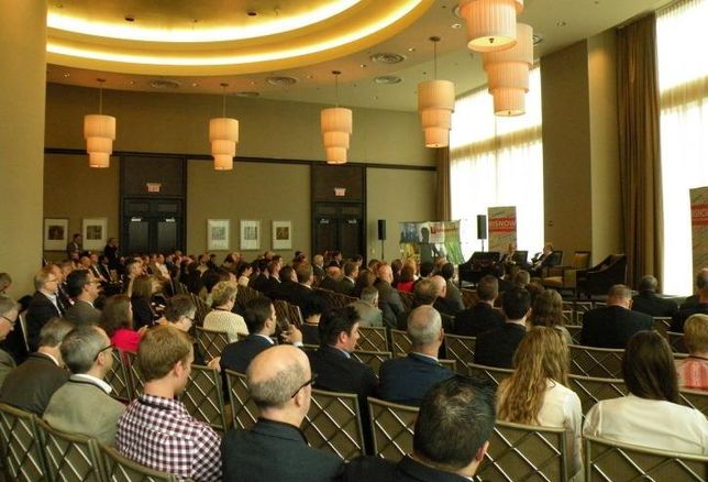 A crowd shot at Bisnow's 5th annual healthcare summit at Trump International Hotel and Tower, Chicago