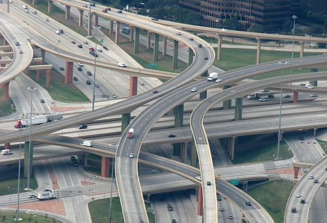 High Five Interchange: US 75 on the bottom level; the two frontage roads on the second; I-635 on the third; direct connection ramps on the two top levels