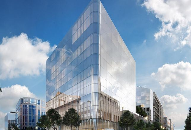 Rendering of the under-construction Conrad Washington DC in CityCenter DC, being developed by Hines and Qatari Diar.