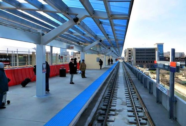 "A shot of Chicago's Wilson Avenue ""L"" station, which is undergoing a $203M overhaul."