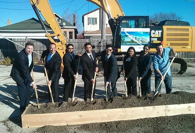 Kellen Duggan, First Western Properties; Paul Tsakiris, First Western Properties; Amit Patel, developer; Parth Patel, developer; Fahim Lakhani, First Western Properties; Hiral Patel, developer; Balkrishna Patel, developer, at the groundbreaking for Best Western's Vib Hotel in Chicago Unknown area resident