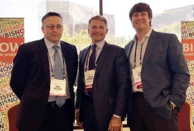 RSM USA partner Mike Beacom, Cortland Partners CEO Steven DeFrancis and Embrey Partners EVP of development John Kirk speaking at BMAC South July '16