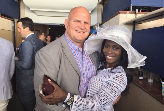 Cisterra principal Jason Wood snapped here with fiancé Ruth Jean on opening day at the Del Mar races.