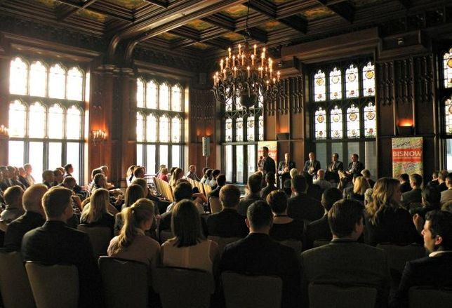 "A crowd shot from Bisnow's ""Where is the Money Going?"" Capital Markets event in Chicago, at the University Club of  Chicago."