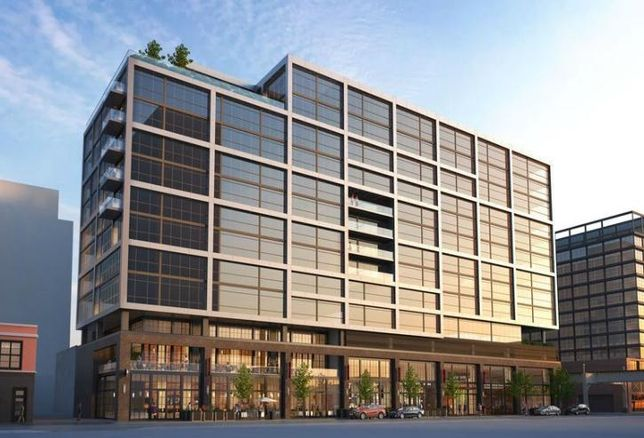 A rendering of Bridgford Foods' proposed redevelopment of its Fulton Market site in Chicago