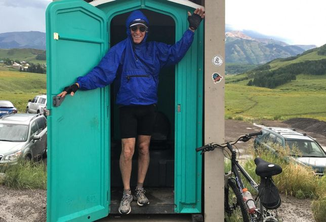 Here is the shot that Herb Weitzman sent me from his family vacation in Crested Butte, Colorado. Herb says, 'I took refuge when I suddenly got caught in a lighting and rain storm on my 10-mile mountain bike ride in Mt. Crested Butte today.""