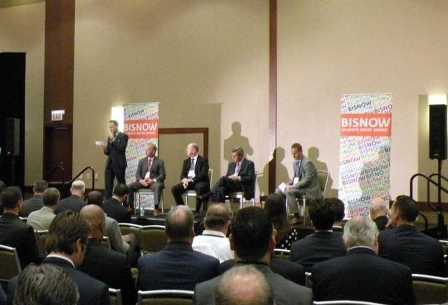 """A crowd shot of Bisnow's """"Flight to the Suburbs"""" event in Lombard, IL"""