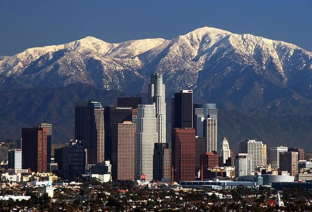 Los Angeles Skyline in front of San Gabriel Mountain