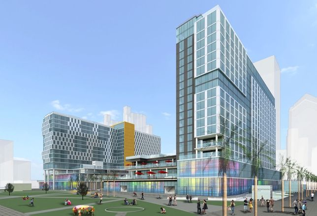Picture is BRIC 1's 19-story, dual-brand Marriott hotel, a 253-key Spring hill Suites and 147-key Residence Inn, connected by 60k SF of retail to BRIC 2's 18-story IHG Intercontinental Hotel & Resort, which is under construction on the San Diego Bay.