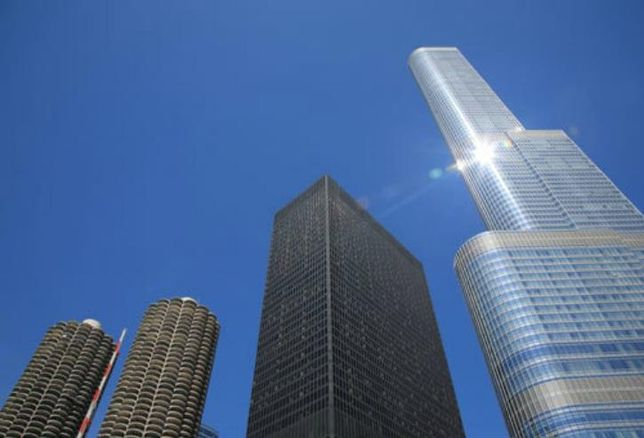 Left to right: Marina Towers, AMA Plaza and Trump Tower Chicago