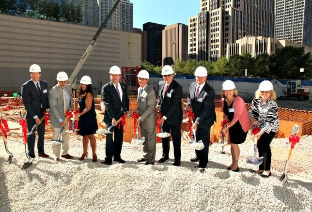 Metlife director Matt Sharples; Jupiter Realty EVP Jerry Ong; Chicago Building Commissioner Judy Fryland; Ald. Brendan Reilly; Jupiter Realty chairman/CEO Don Smith; Jupiter Realty president/CFO Michael Pompizzi; Allstate head of commercial real estate investments Mike Moran; Chicago Department of Buildings director of public affairs Mimi Simon; Streeterville Organization of Active Residents (SOAR) president Deborah Gershbein.