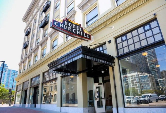 New entrance to Hotel Churchill in Downtown San Diego, which was renovated to house 72 homeless San Diegans.