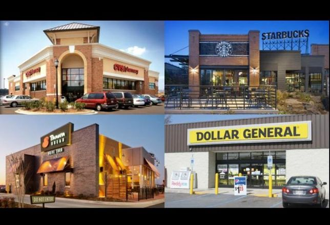 A collage of net lease real estate.