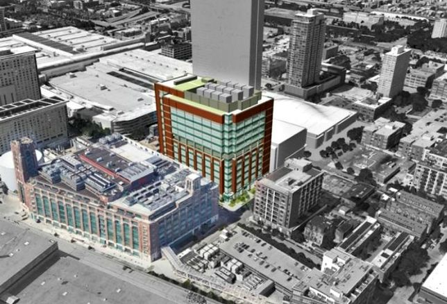 A rendering of Digital Realty Trust's planned 12-story data center at 330 East Cermak Road, Chicago.