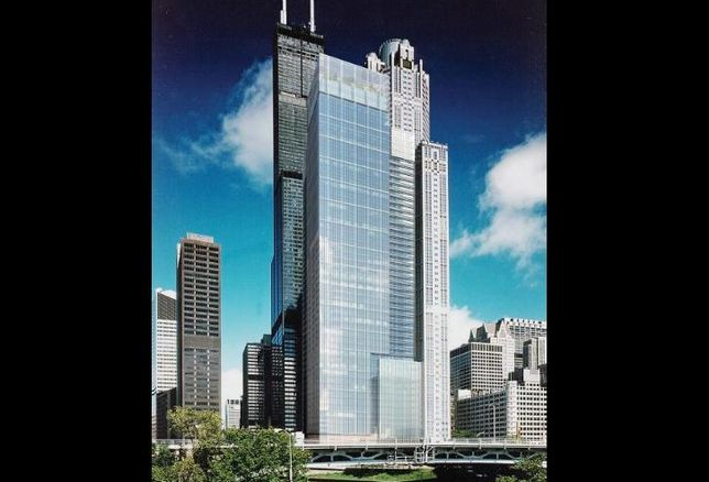 Rendering for a twin 48-story office tower project by Murphy Development in Chicago