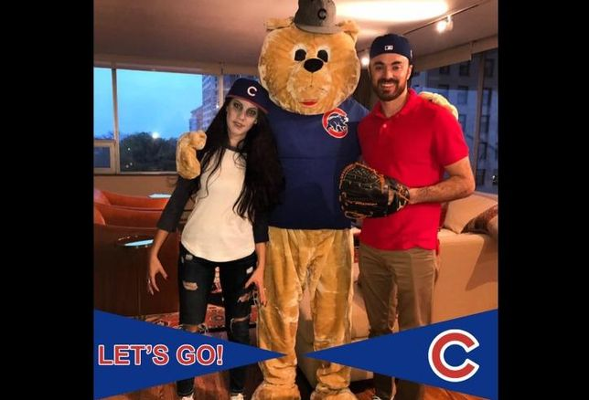 Bisnow Midwest VP Jonathan Hobfoll (center) with wife and Chicago Cubs pitcher Jake Arrieta