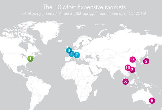 CBRE Global Prime Rents Map