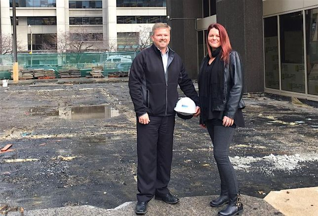 Crown Realty's construction director Rob Campbell and construction manager Nicole Pearce.