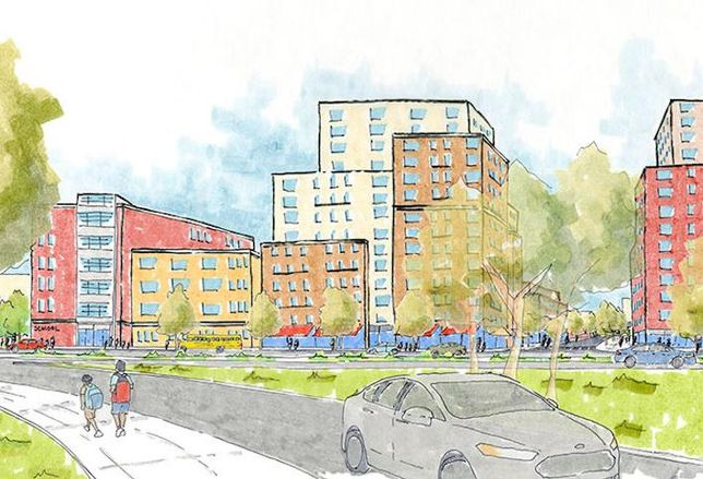 Sketch of the Dinsmore and Chestnut project in East New York, Brooklyn