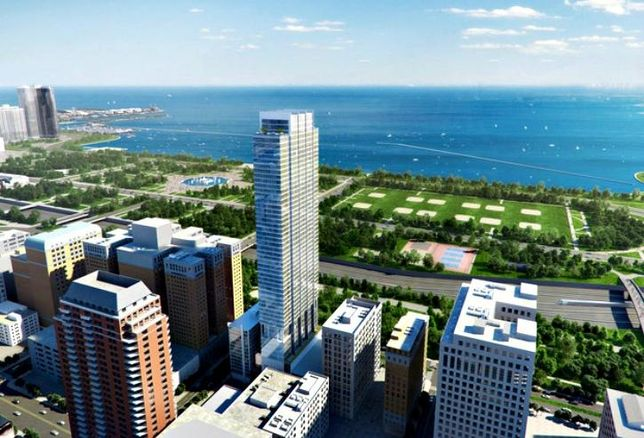 An aerial rendering of Essex on the Park, with views facing Grant Park and Lake Michigan