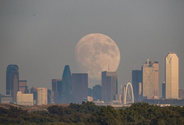 Moonrise over Dallas Skyline