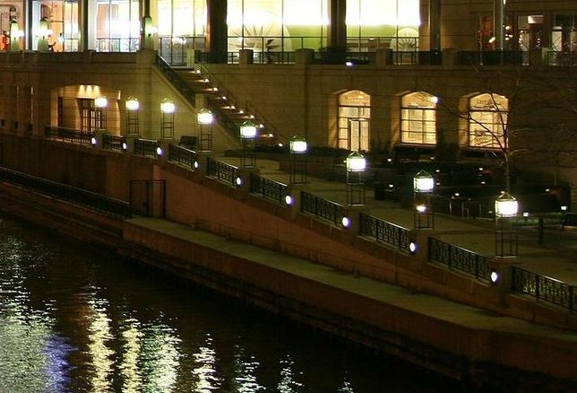 The Chicago Riverwalk at night