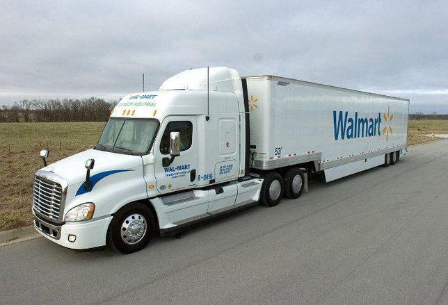 Walmart delivery truck, warehouse, industrial