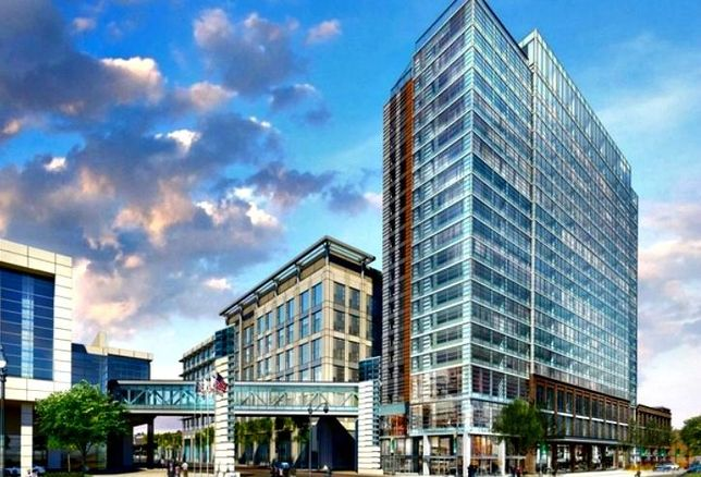 A rendering of First Hospitality Group's tri-branded Hilton hotel near Chicago's McCormick Place