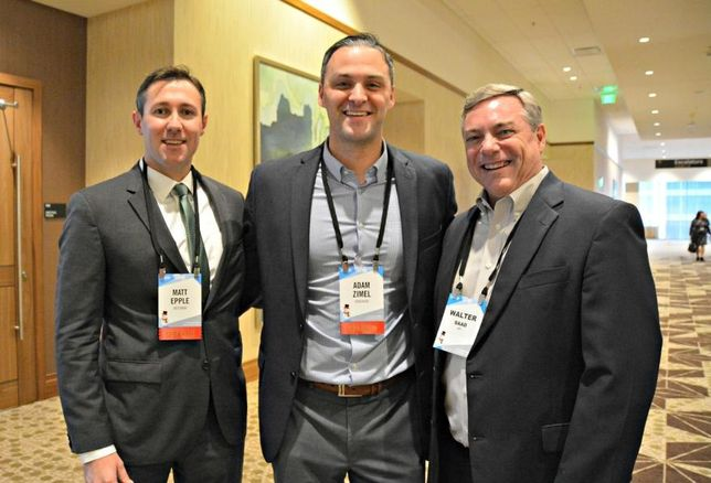 Weitzman SVP Matt Epple, Endeavor VP of leasing Adam Zimel; HFF's Walter Saad