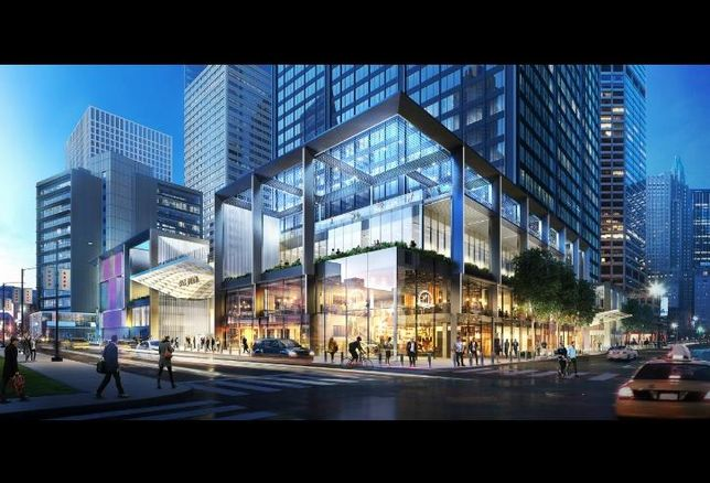 A rendering of Blackstone Group's planned renovations for Willis Tower, viewed from the corner of Jackson Boulevard and Wacker Drive