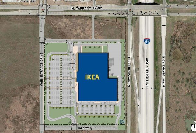 The Swedish home goods store submitted a proposal to the city of Fort Worth for a 289k SF store on 27 acres. The store on the southwest corner of Tarrant Parkway and Interstate 35W will have 900 parking spaces.