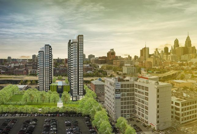 A rendering of the proposal at Fourth and Callowhill, anchoring the Callow East offering