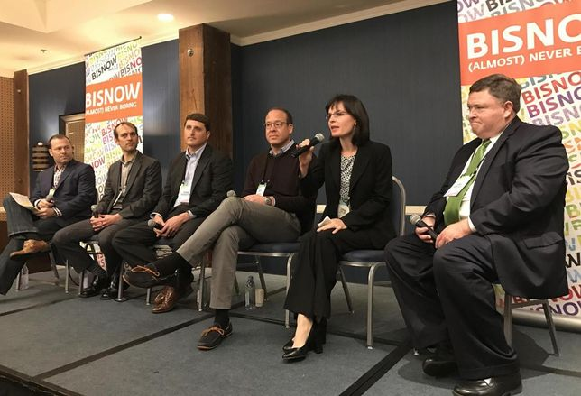 VIEW director of strategy and business development and event moderator Aaron Smith, Yardi vice president Matt Eggers, Aquacell product manager Mark Meredith, Clark Pacific director of corporate development Roy Griffith, Center for Creative Land Recycling executive director Sarah Sieloff and Boston Properties director of engineering Danny Murtagh