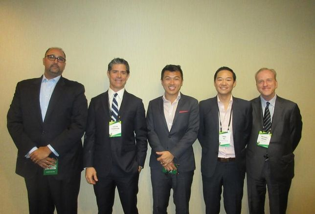 Bisnow Capital Markets LA Ackman Ziff managing director Sandeep Pathak, Nixon Peabody's Justin Thompson, World Trade Center - Los Angeles' Stephen Cheung, Gaw Capital Partners' Mike Hu and Gemdale USA's Michael Krupa