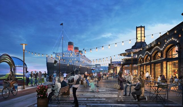 Rendering of Queen Mary Island, Long Beach, CA