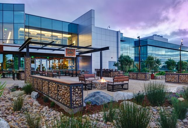 Alexandria Real Estate employs technologies employed at UTC Campus Pointe that allow employees to work anywhere on the campus, including this casual outdoor patio space.