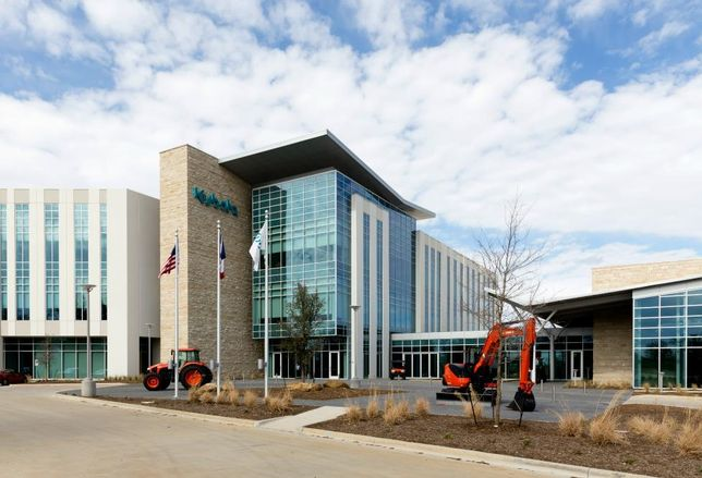 Construction of the $50M Kubota Headquarters has been completed in Grapevine. Hill & Wilkinson General Contractors constructed the 124K SF building near State Highway 121, an adjacent 62K SF research and development facility and a parking garage.  Corgan designed the buildings and CBRE was construction manager for the project.