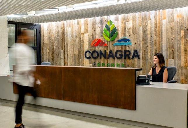 A rendering of the entrance lobby inside Conagra Brands' new Merchandise Mart HQ.
