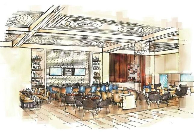 A rendering of the restaurant and lounge inside the Cambria Chicago Loop hotel.
