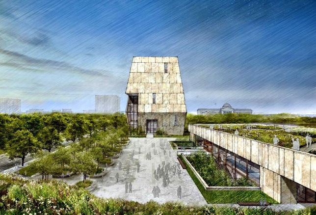 A rendering of the design for the Obama Presidential Library in Chicago.