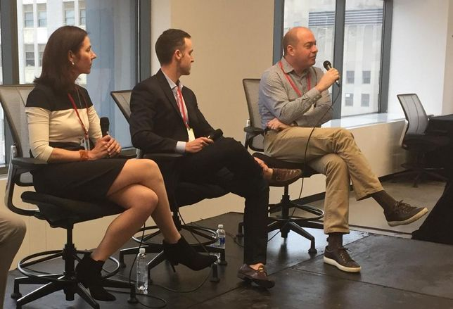 Bacardi real estate VP Louise Matthews, WeWork's Sam Lee and Matt Fry