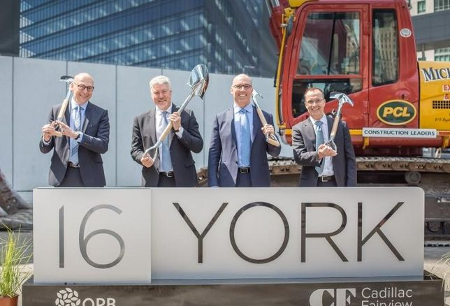 (L to R) Bruce Sonnenberg,VP & District Manager, PCL, Wayne Barwise, EVP Development, Cadillac Fairview, John Sullivan, CF President and CEO, and Mark Fuller,CEO, Canadian Pension Board, break ground on their latest project