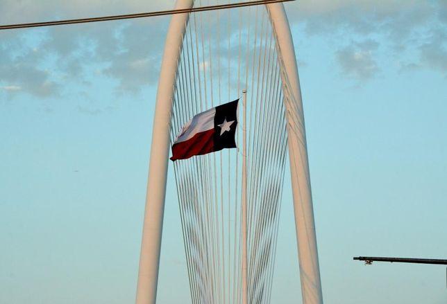 margaret hunt hill bridge, texas flag, dallas