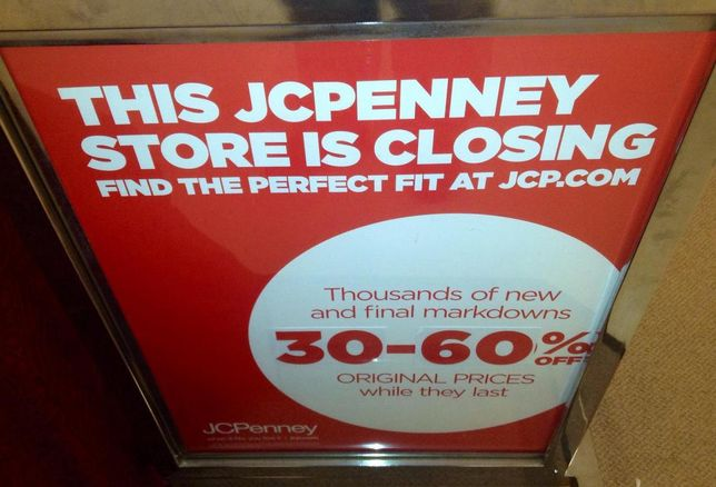 closing sign, JC Penney