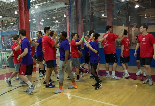 Sportsmanship display at the JDRF Real Estate Games at Chelsea Piers in Manhattan