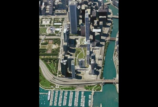 An aerial view of Lakeshore East